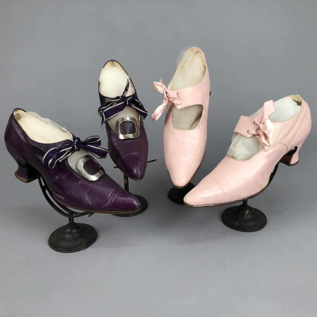 TWO PAIR LADIES' KID LEATHER PUMPS with TIES, 1910 &