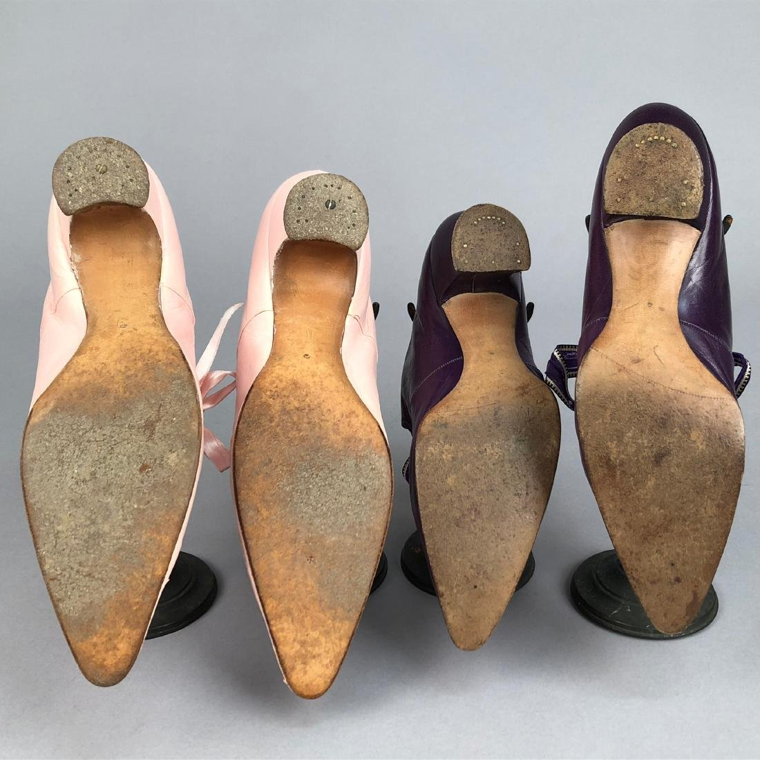 TWO PAIR LADIES' KID LEATHER PUMPS with TIES, 1910 & - 4
