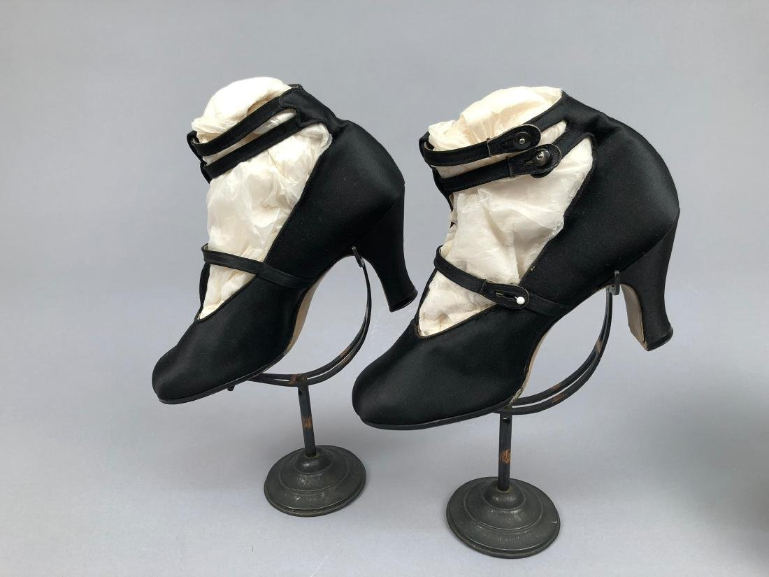 THREE PAIR HEELED BLACK SATIN SHOES, 1912 - 1915 - 2