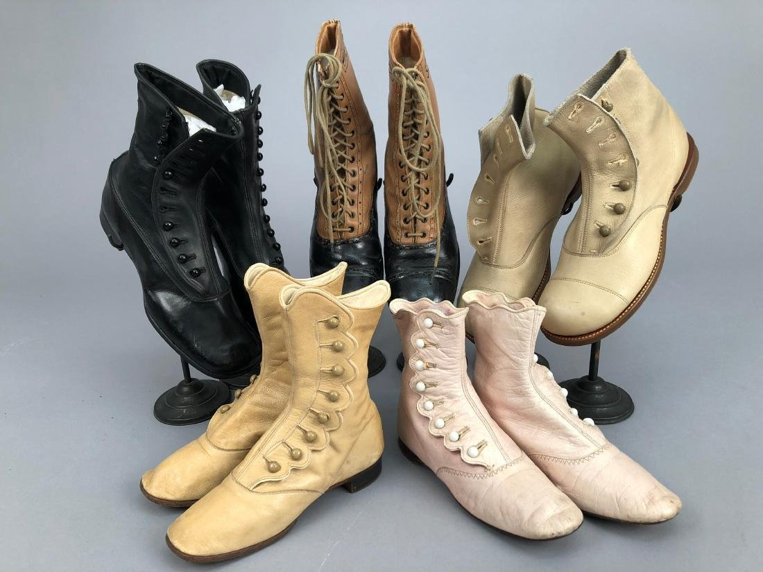 FIVE PAIR CHILDRENS BOOTS, 1900 - 1910
