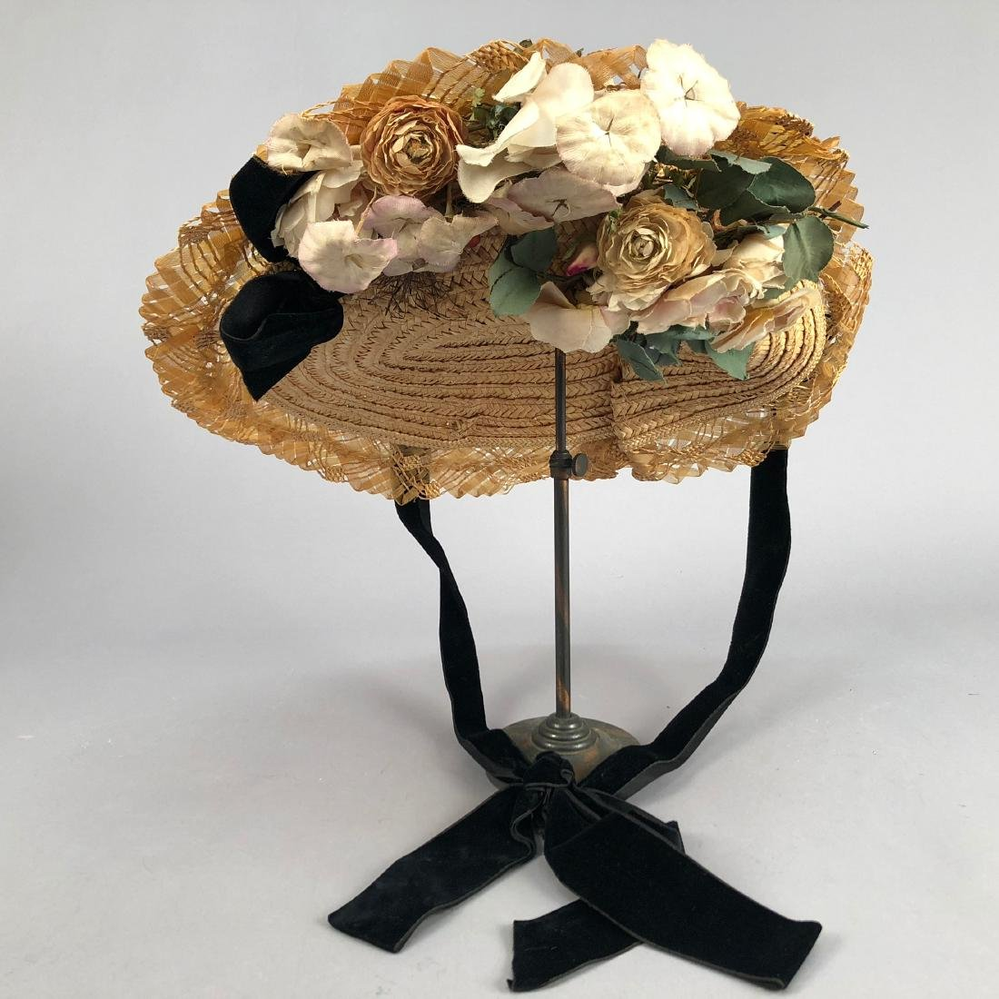 BRAIDED STRAW HAT with ROSES, 1905 - 2