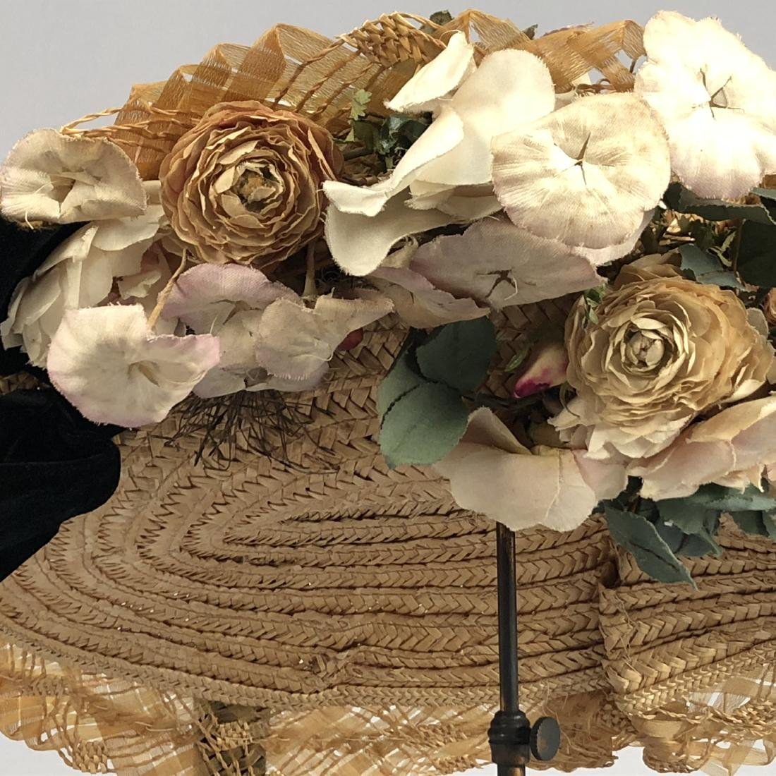 BRAIDED STRAW HAT with ROSES, 1905 - 3