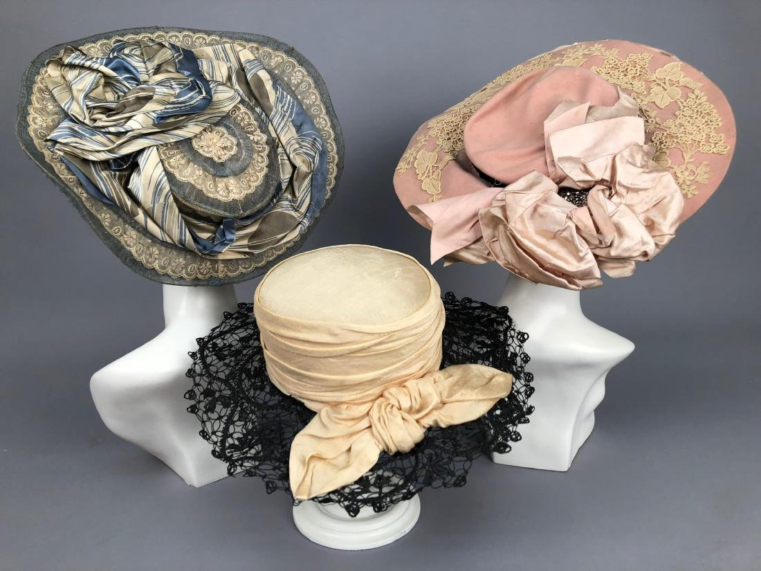 THREE WIDE-BRIM HATS, 1902 - 1910
