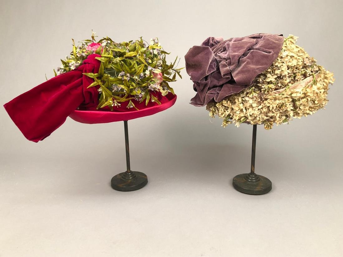 TWO FLOWER-COVERED HATS with TURNED-UP BRIM, 1912 -