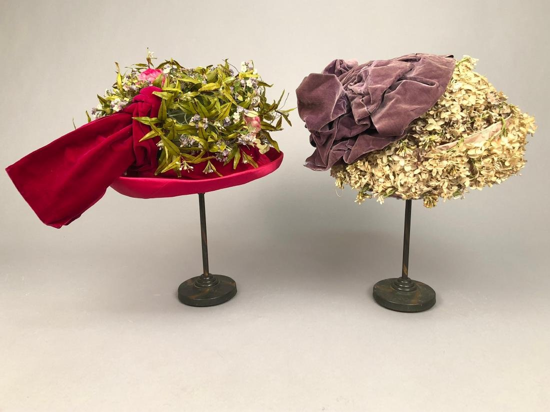 TWO FLOWER-COVERED HATS with TURNED-UP BRIM, 1912 - - 2