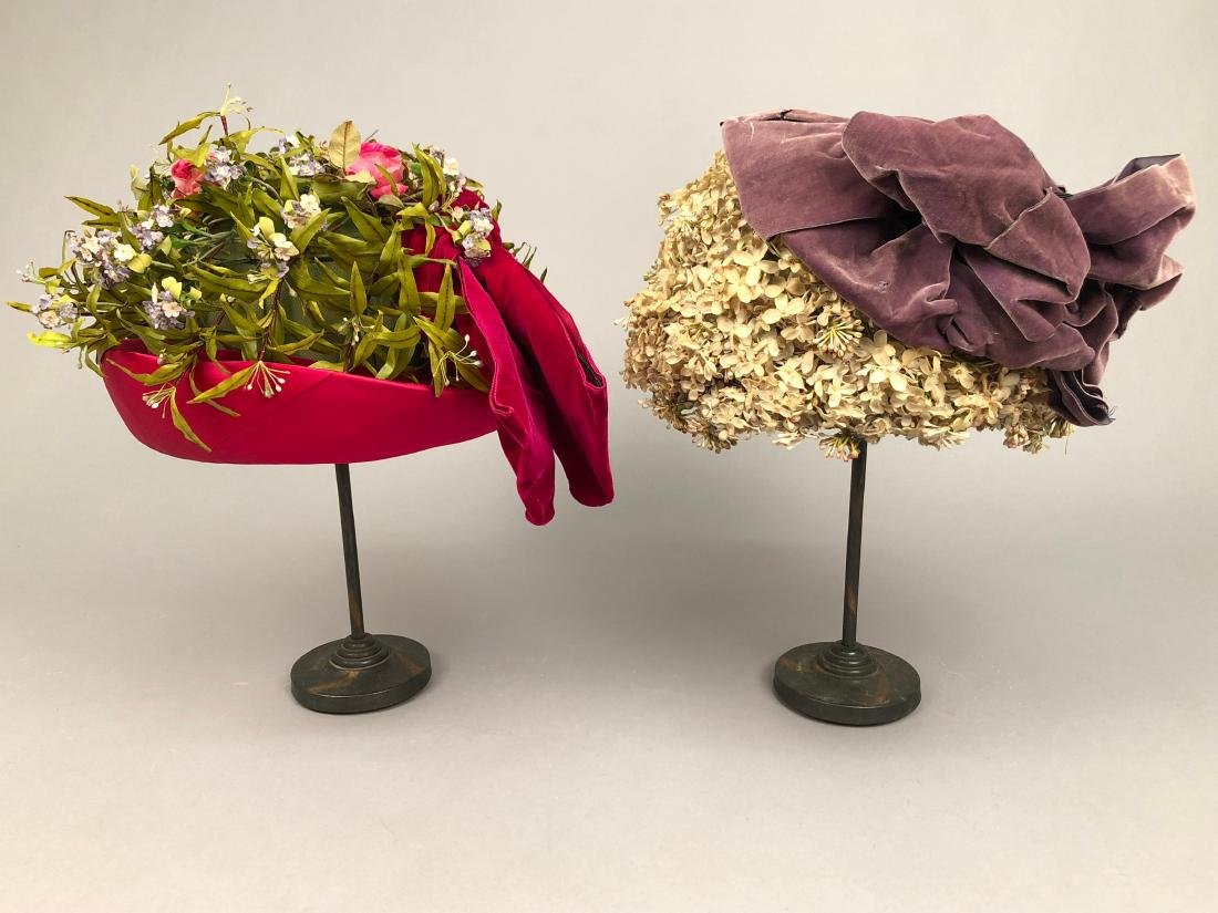 TWO FLOWER-COVERED HATS with TURNED-UP BRIM, 1912 - - 3