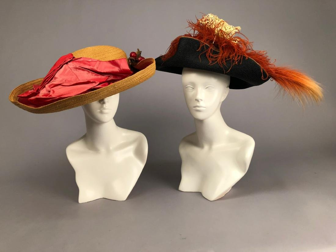 TWO STRAW HATS with COLORED TRIM, 1909 & 1912