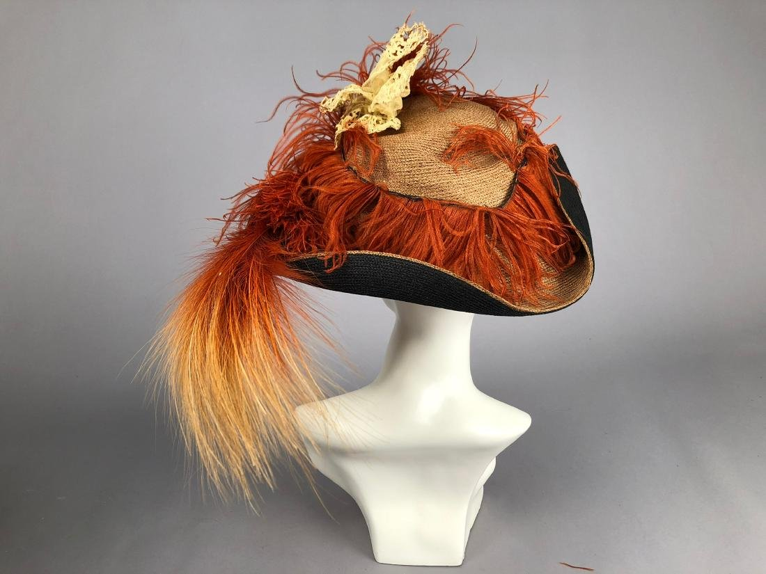 TWO STRAW HATS with COLORED TRIM, 1909 & 1912 - 3