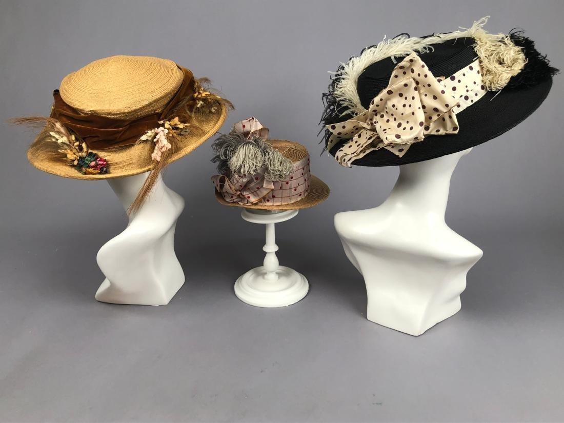 TWO WIDE-BRIM STRAW HATS, 1905 - 1915