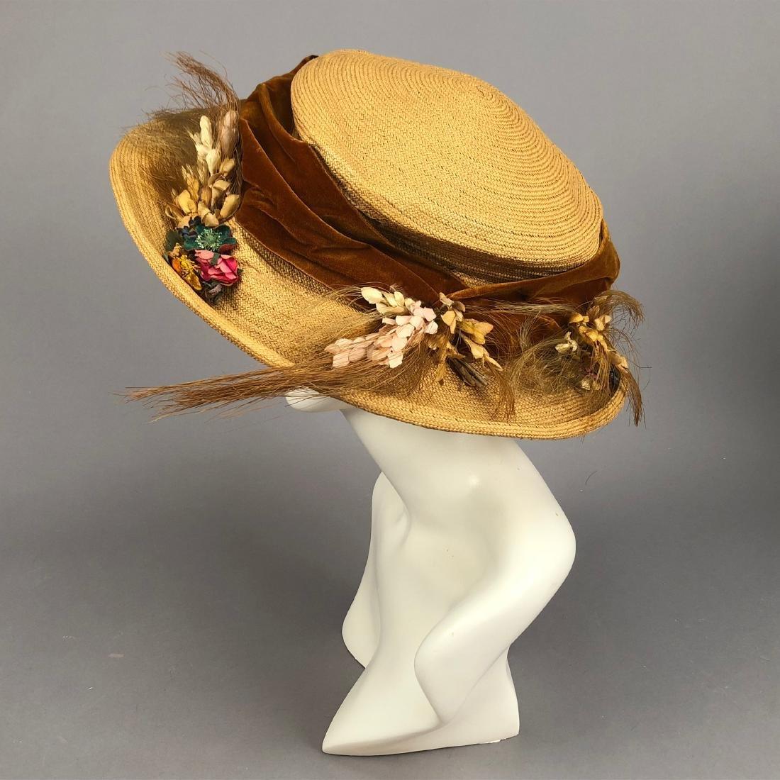 TWO WIDE-BRIM STRAW HATS, 1905 - 1915 - 5