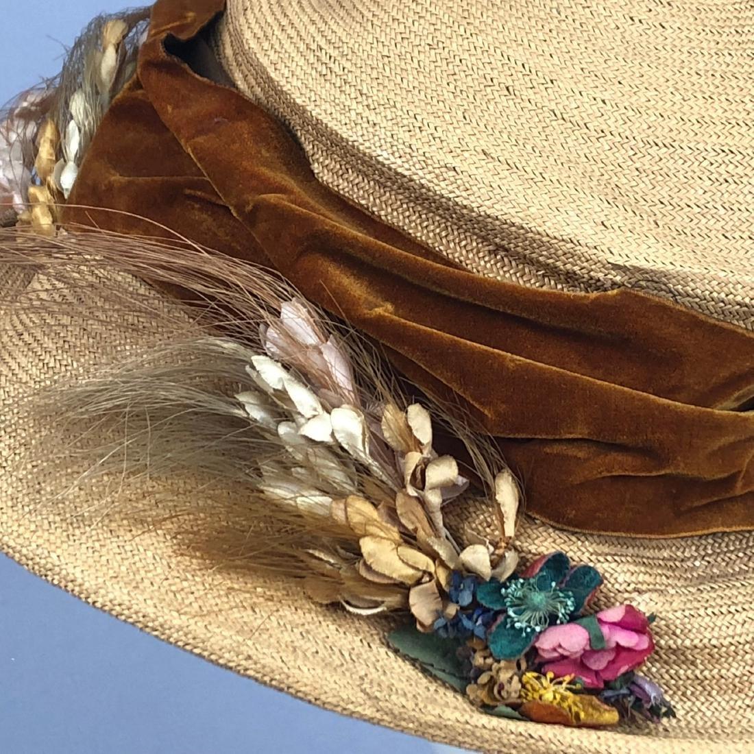TWO WIDE-BRIM STRAW HATS, 1905 - 1915 - 6