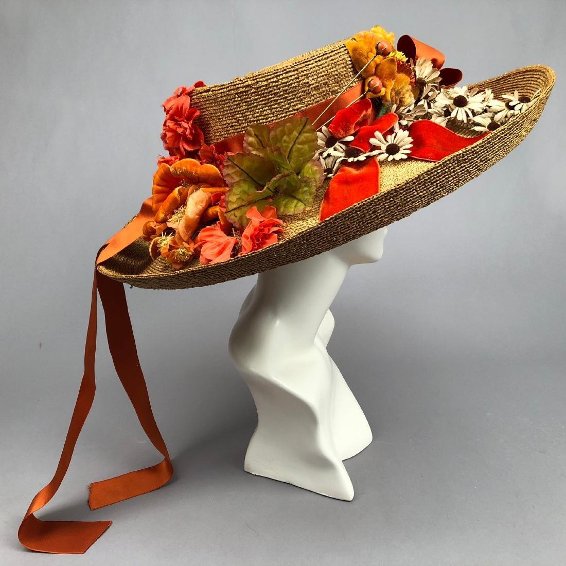 STRAW HAT with ORANGE TRIM and CORAL HATPINS, c. 1912
