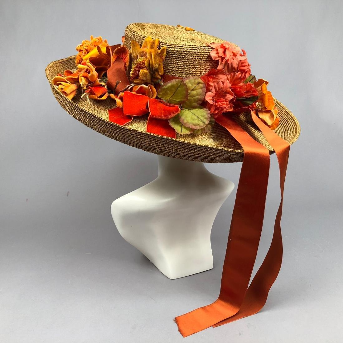 STRAW HAT with ORANGE TRIM and CORAL HATPINS, c. 1912 - 3