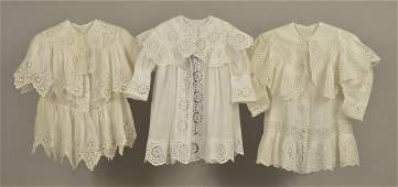THREE CHILDRENS WHITE COTTON COATS 1897  1905