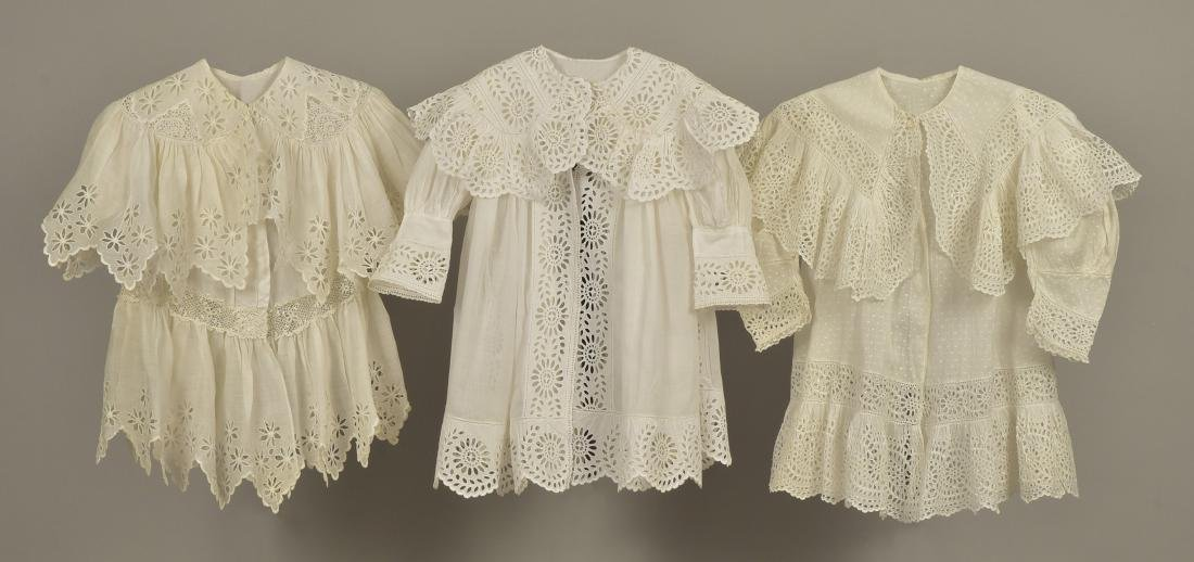 THREE CHILDREN'S WHITE COTTON COATS, 1897 - 1905