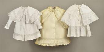THREE CHILDRENS WHITE COTTON COATS c 1900