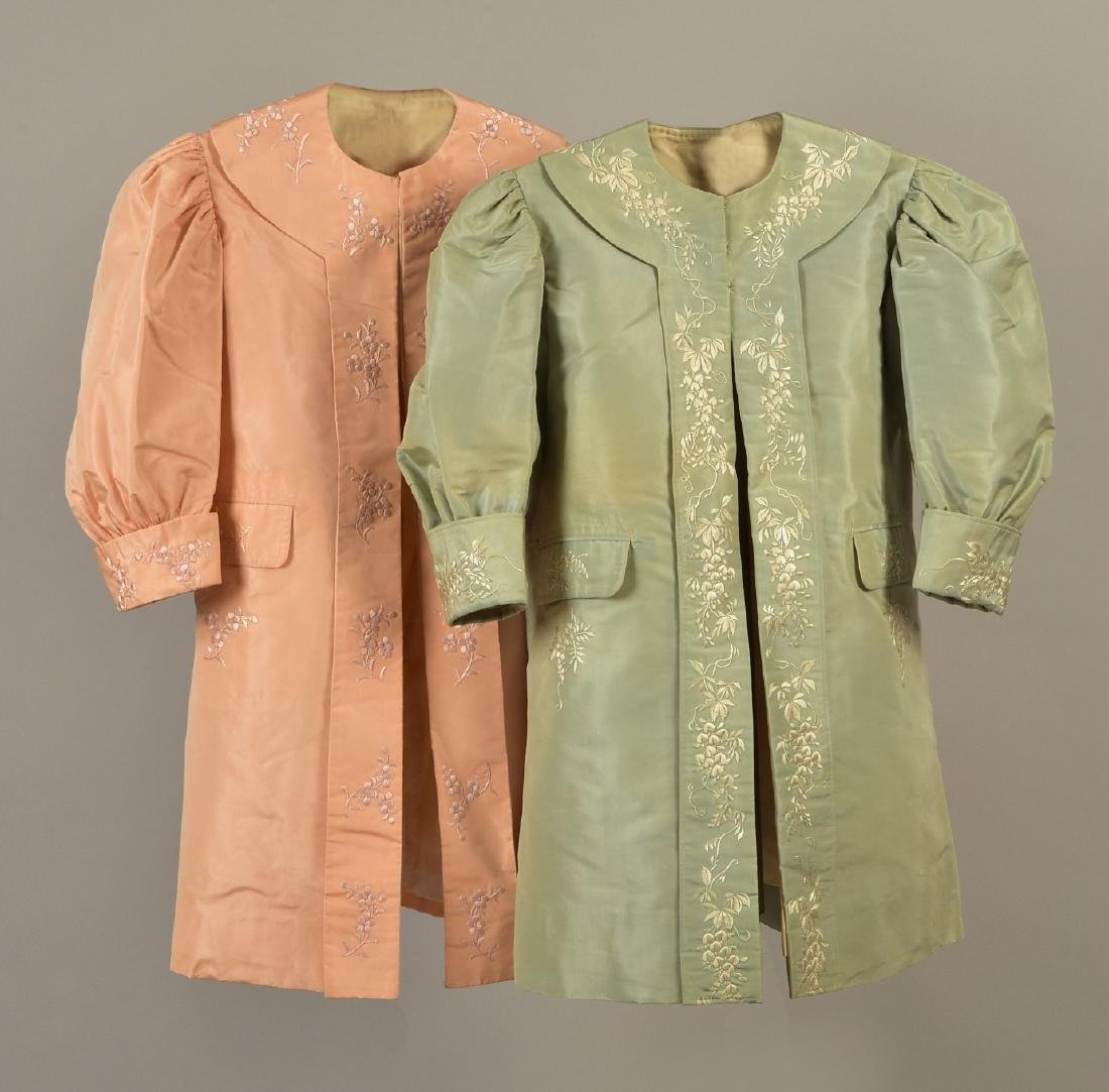 TWO GIRLS EMBROIDERED TAFFETA COATS with MATCHING