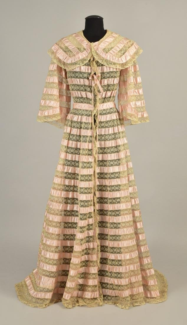 TRAINED RIBBON and LACE DRESSING GOWN, 1900