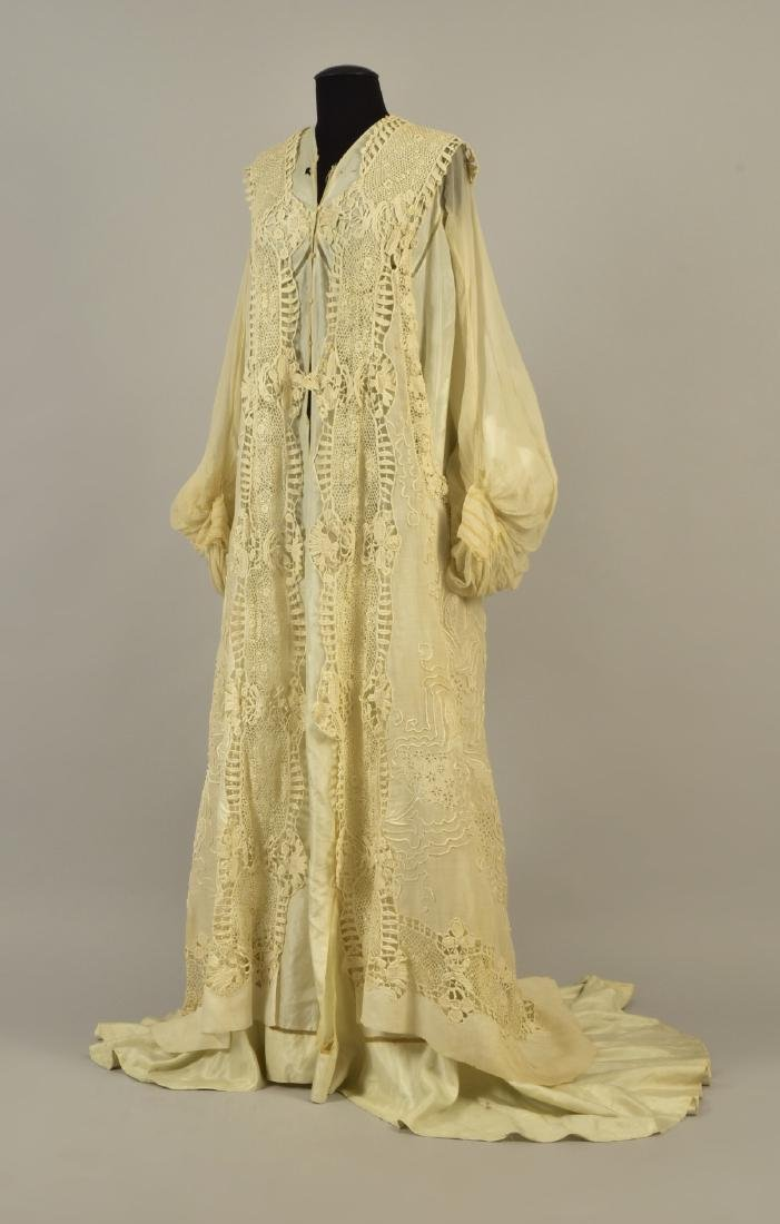 SILK GOWN with CUTWORK MUSLIN and LACE DESHIBILLE, c.