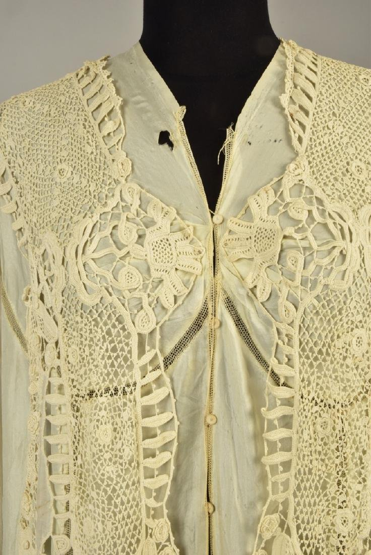 SILK GOWN with CUTWORK MUSLIN and LACE DESHIBILLE, c. - 2