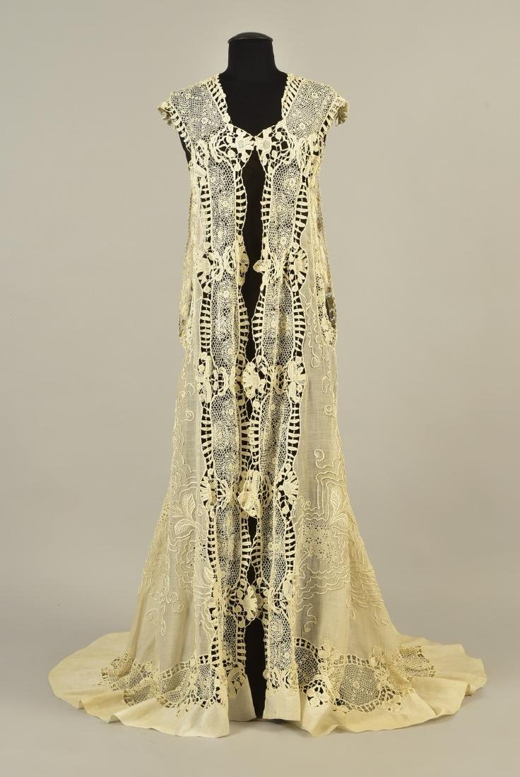 SILK GOWN with CUTWORK MUSLIN and LACE DESHIBILLE, c. - 3