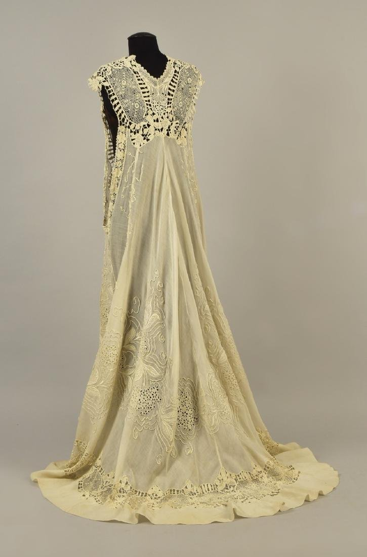 SILK GOWN with CUTWORK MUSLIN and LACE DESHIBILLE, c. - 4