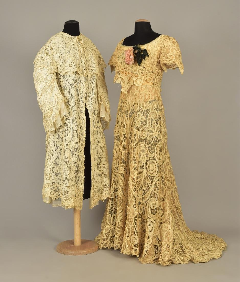 BATTENBURG LACE  GOWN and COAT, 1905 - 1910