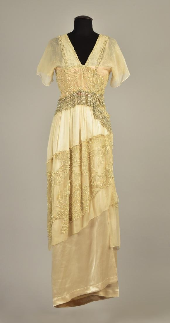 CHIFFON and SATIN GOWN BEADED with PEARLS, c. 1913