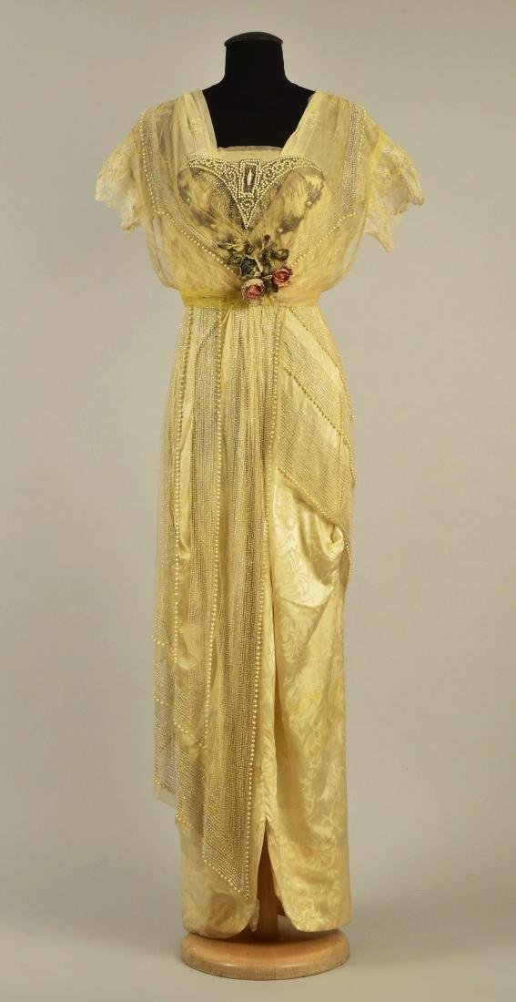 BEADED NET EVENING GOWN, possibly LUCILE, c. 1914