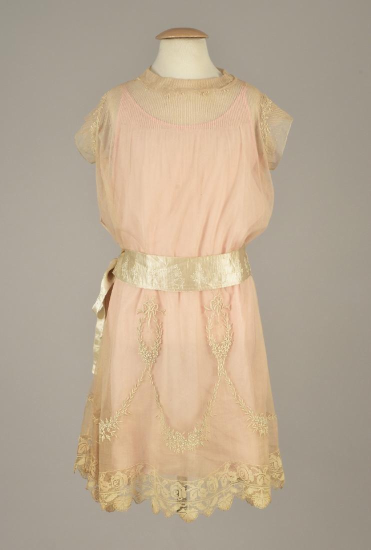 BOUE SOEURS GIRL'S EMBROIDERED NET DRESS, 1920s