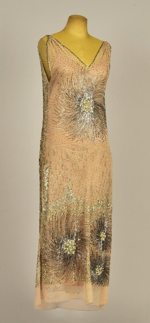 NET EVENING DRESS with BEADED FIREWORKS DESIGN, 1924