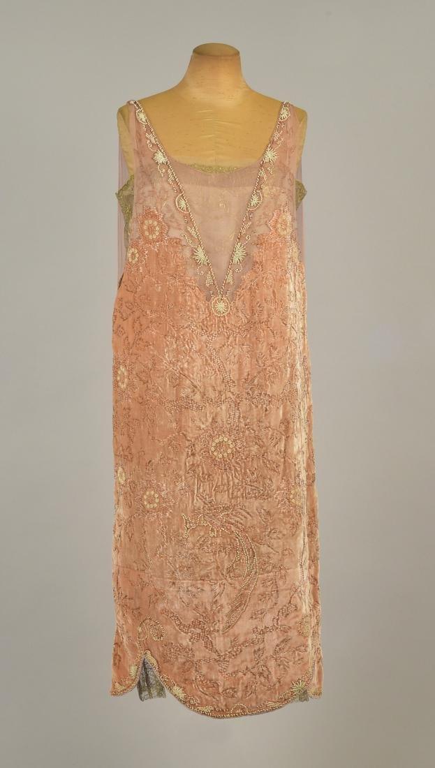CALLOT SOEURS VELVET DINNER DRESS, c. 1926