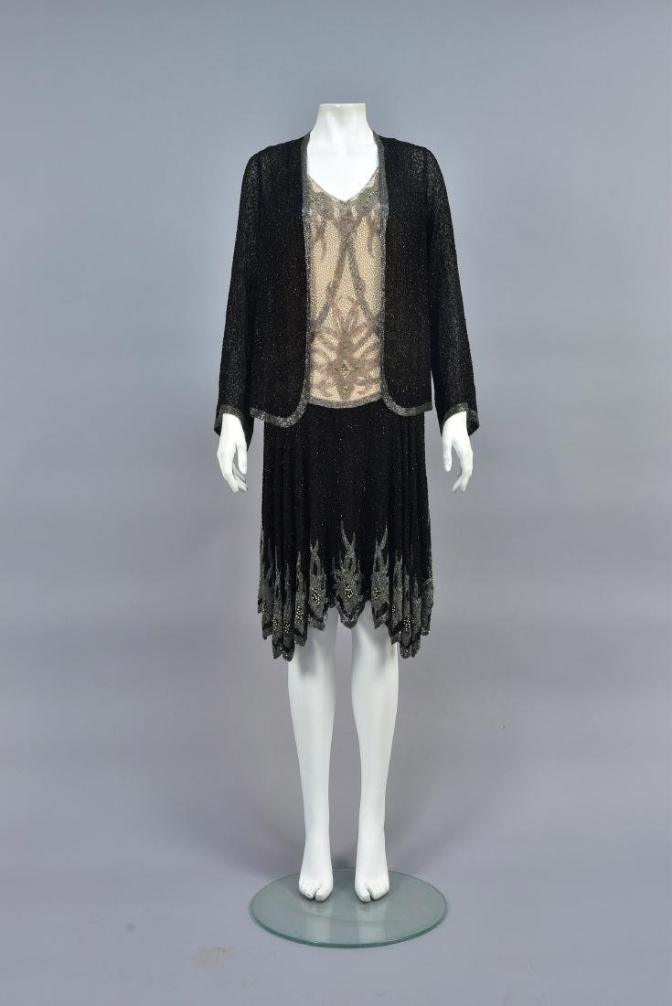 CHANEL 2-PIECE BEADED EVENING DRESS, c. 1928