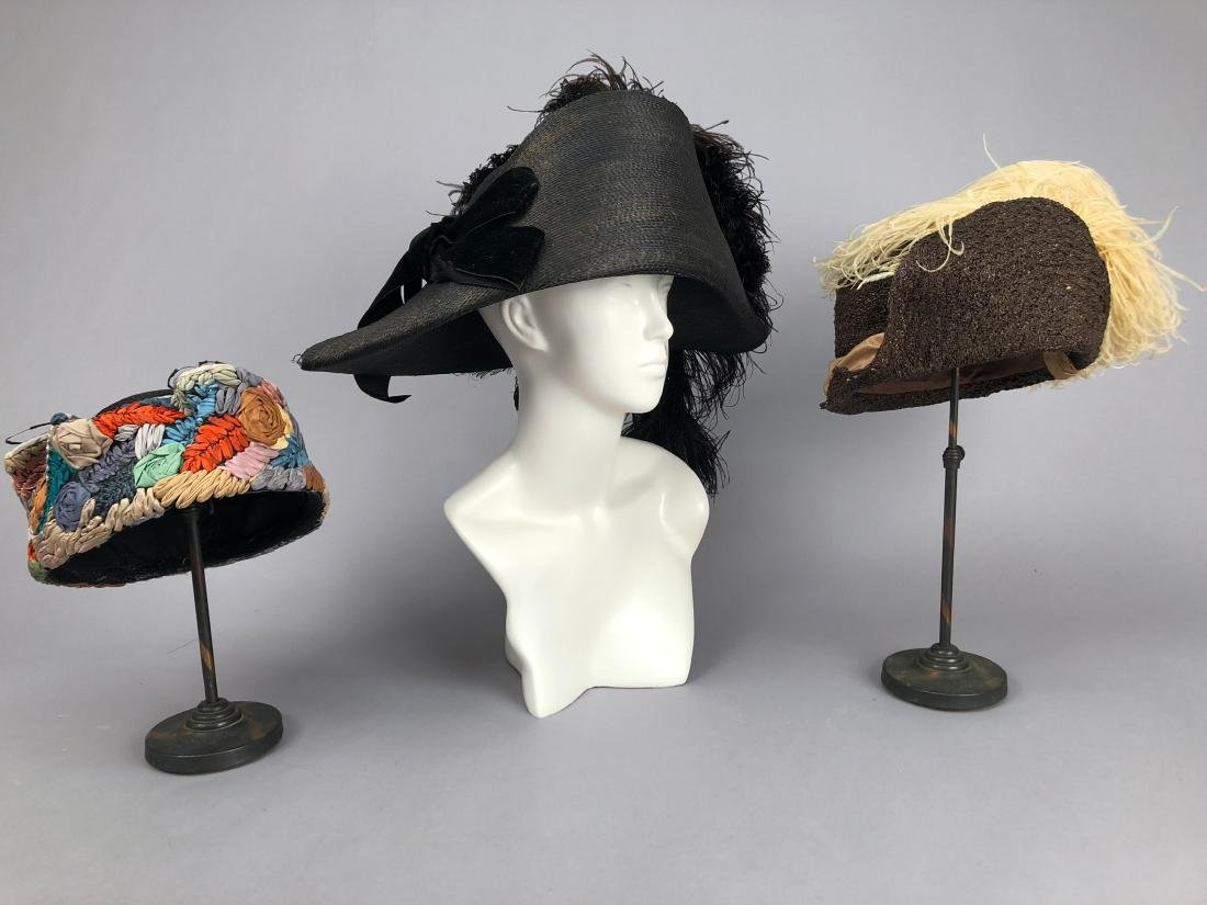 THREE ASYMMETRICAL STRAW HATS, c. 1911 - 1920