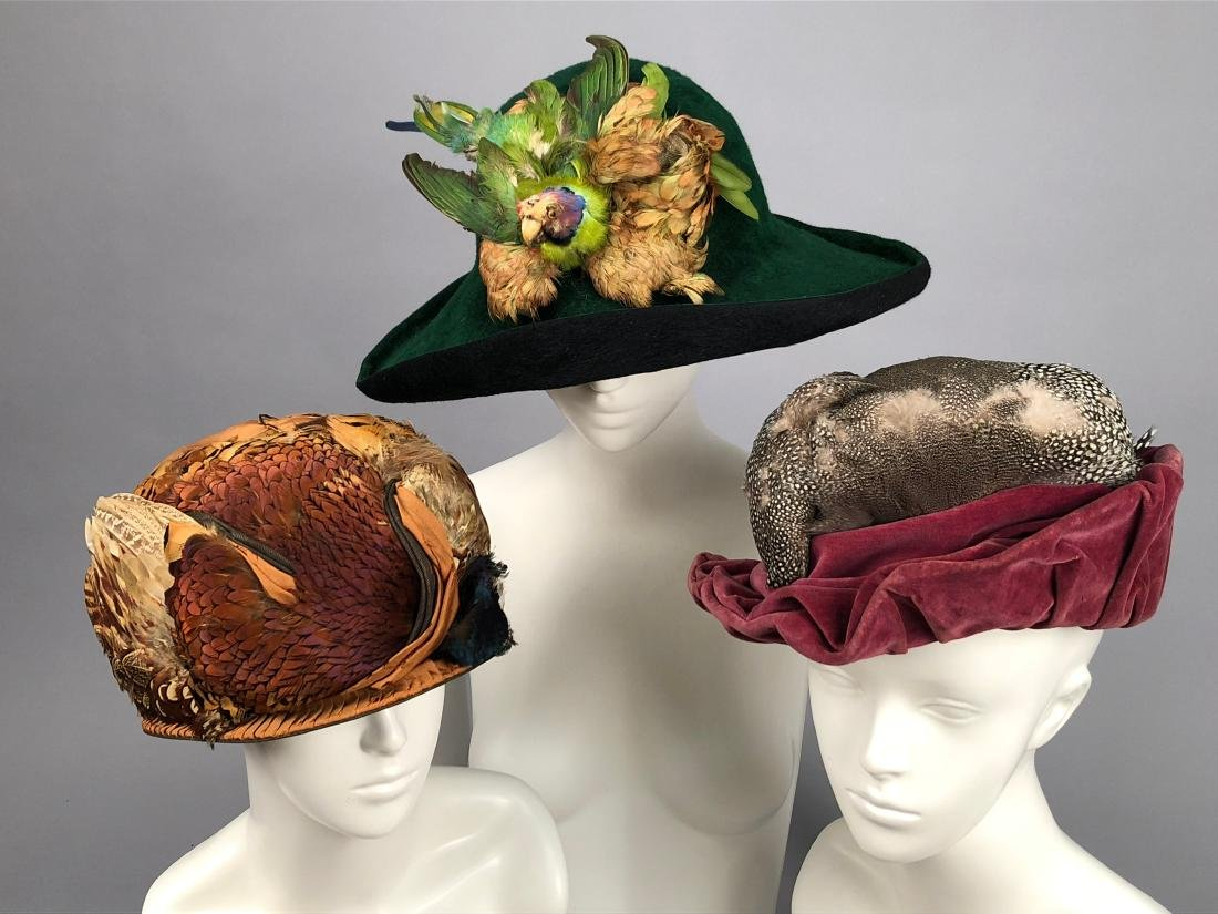 THREE HATS with FEATHER DECORATION, 1914 - 1915