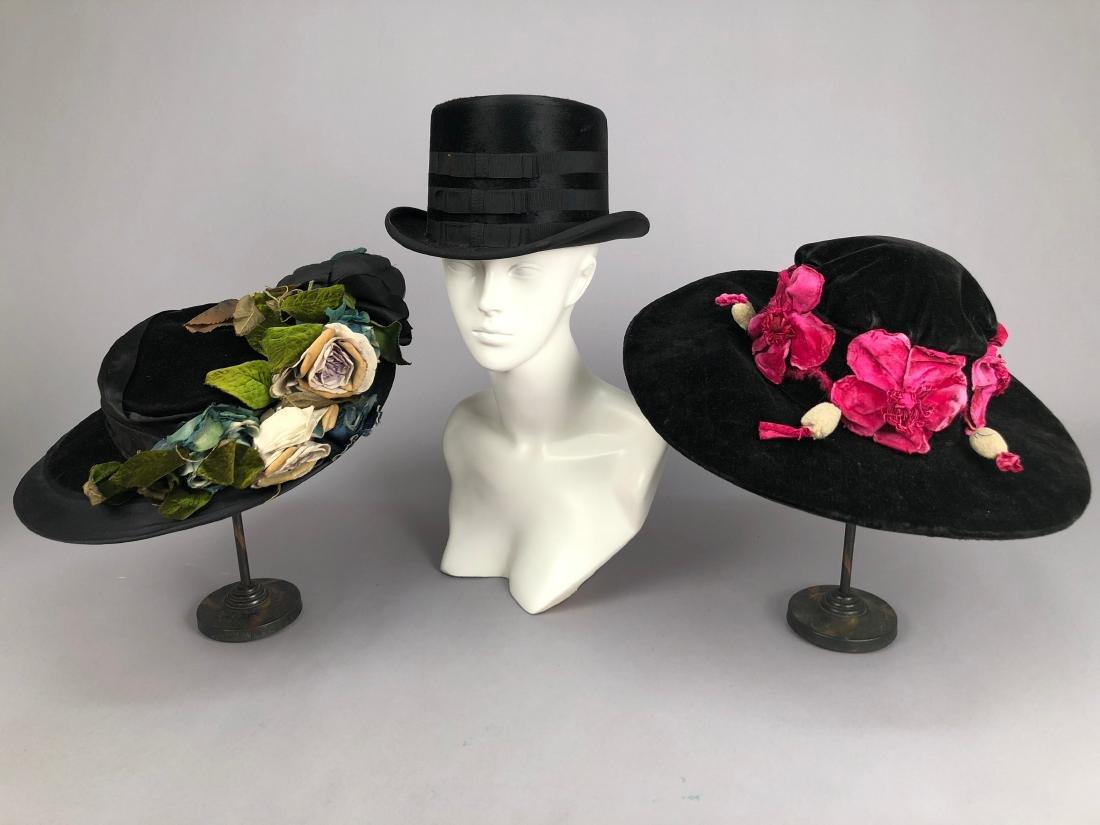TWO BLACK VELVET WIDE-BRIM HATS, c. 1918