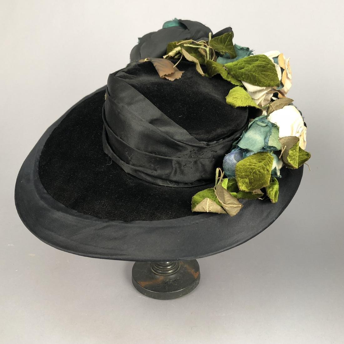 TWO BLACK VELVET WIDE-BRIM HATS, c. 1918 - 4
