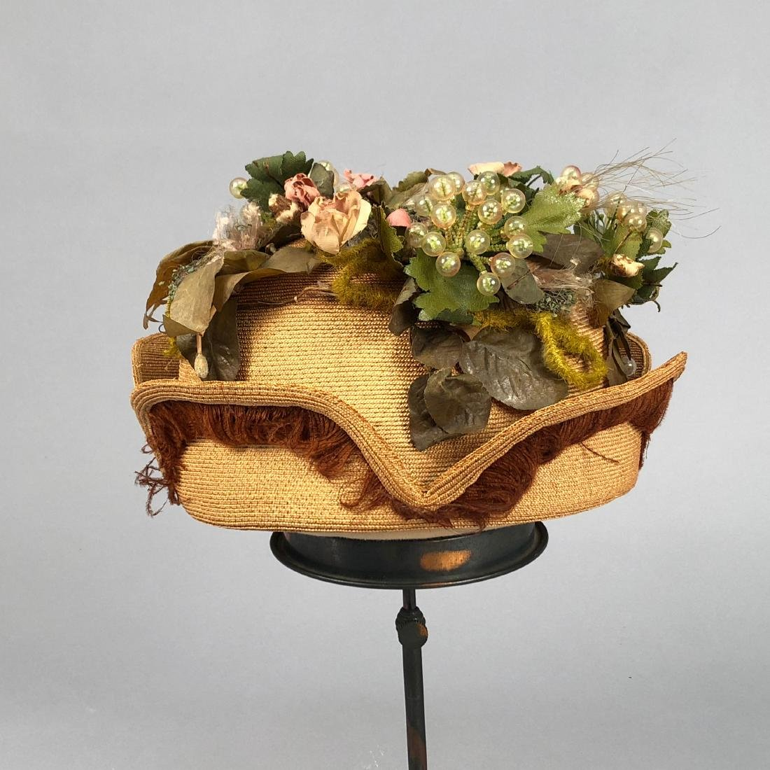 STRAW HAT with NOTCHED BRIM and GRAPE DECORATION, c. - 2