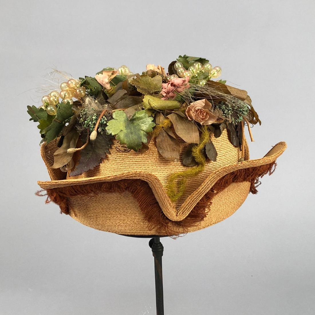 STRAW HAT with NOTCHED BRIM and GRAPE DECORATION, c. - 4