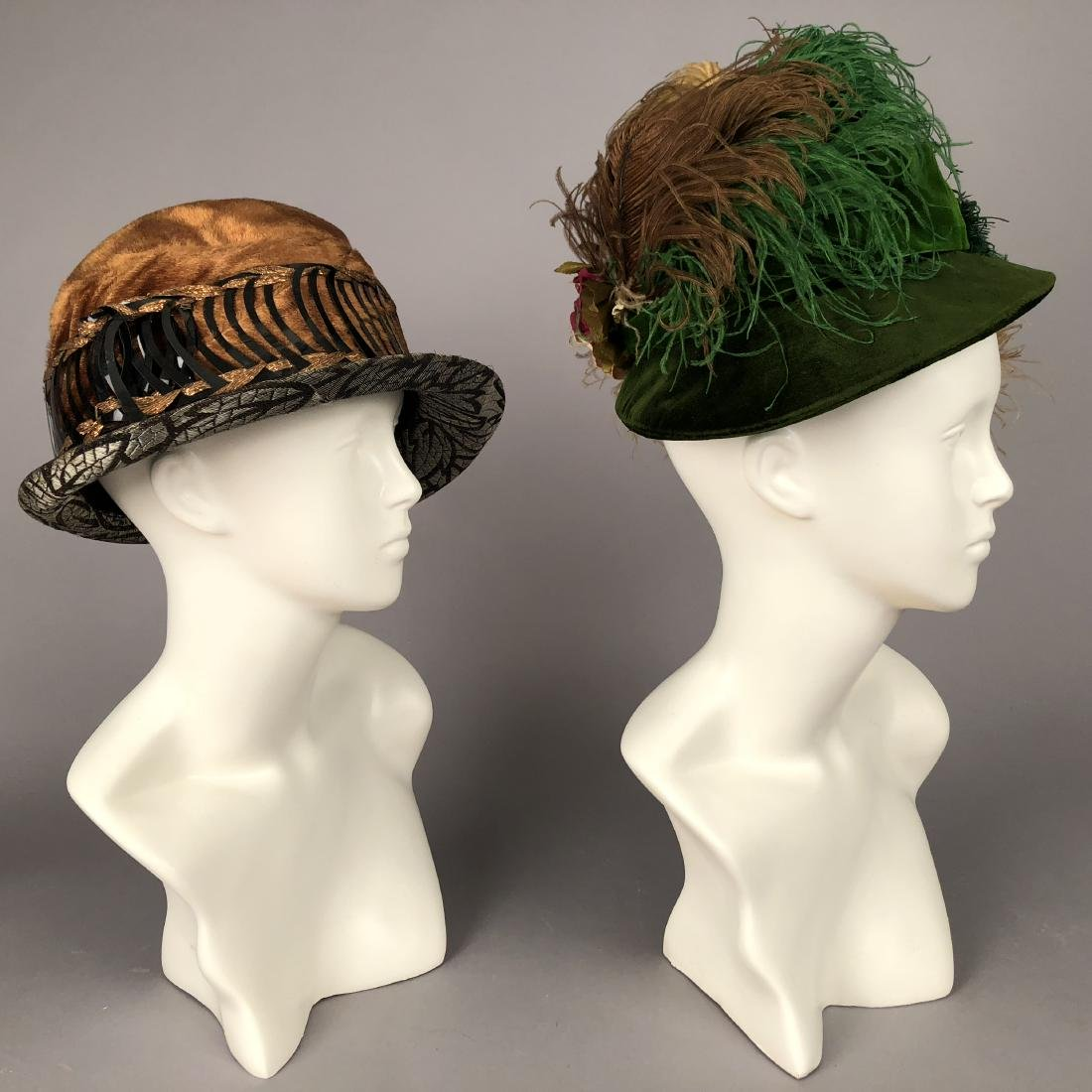 TWO LADIES' VELVET HATS, 1918 and 1920s