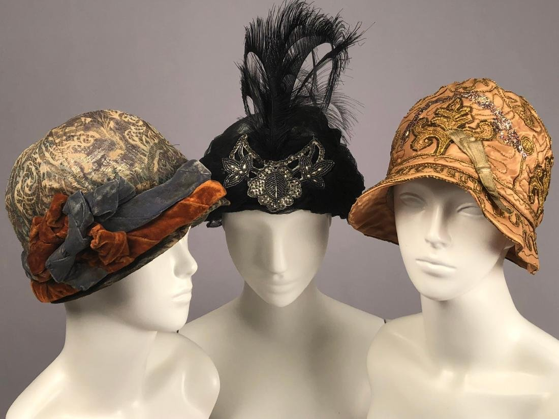 SILK TURBAN and TWO CLOCHES, c. 1912 - 1920s
