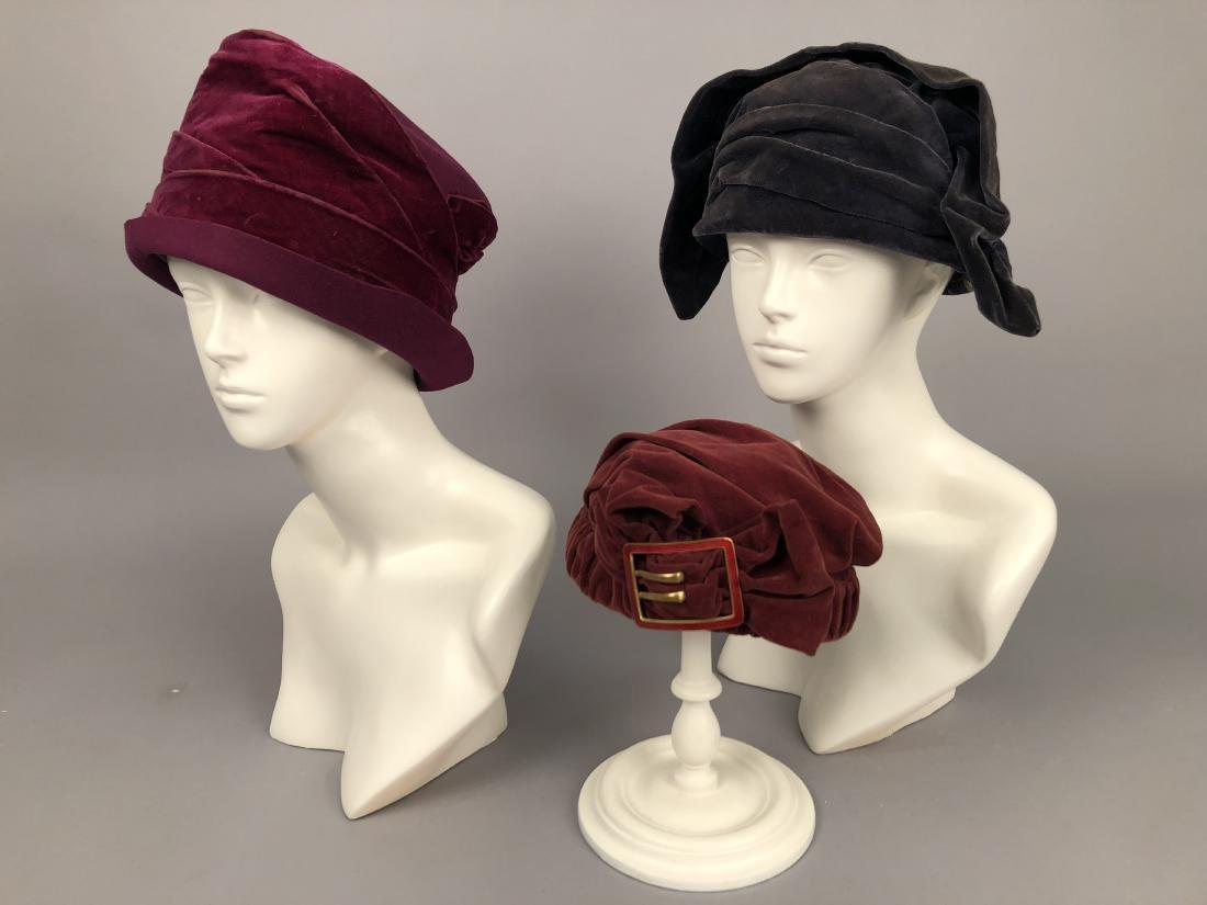 THREE VELVET CLOCHE HATS, 1910 - 1918