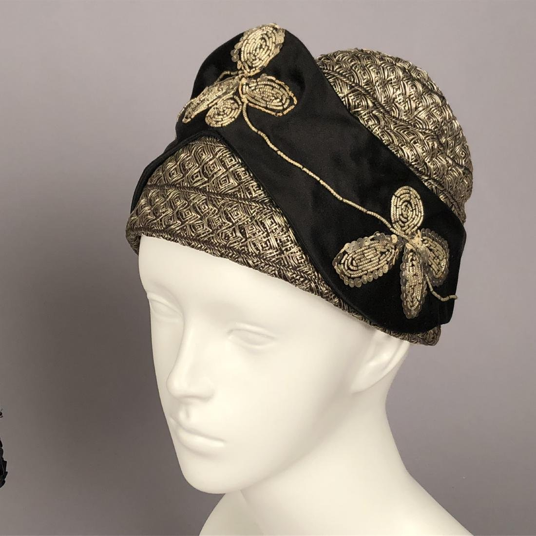 THREE BLACK SILK CLOCHES, 1920s - 2