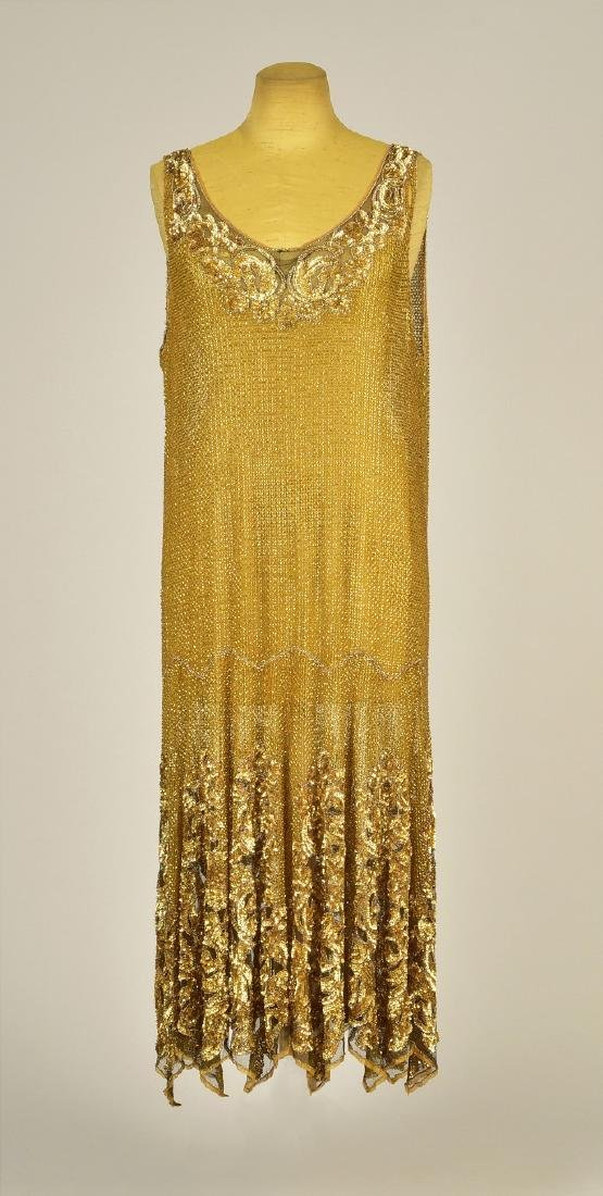 GOLD BEADED and SEQUINED NET DRESS, c. 1926