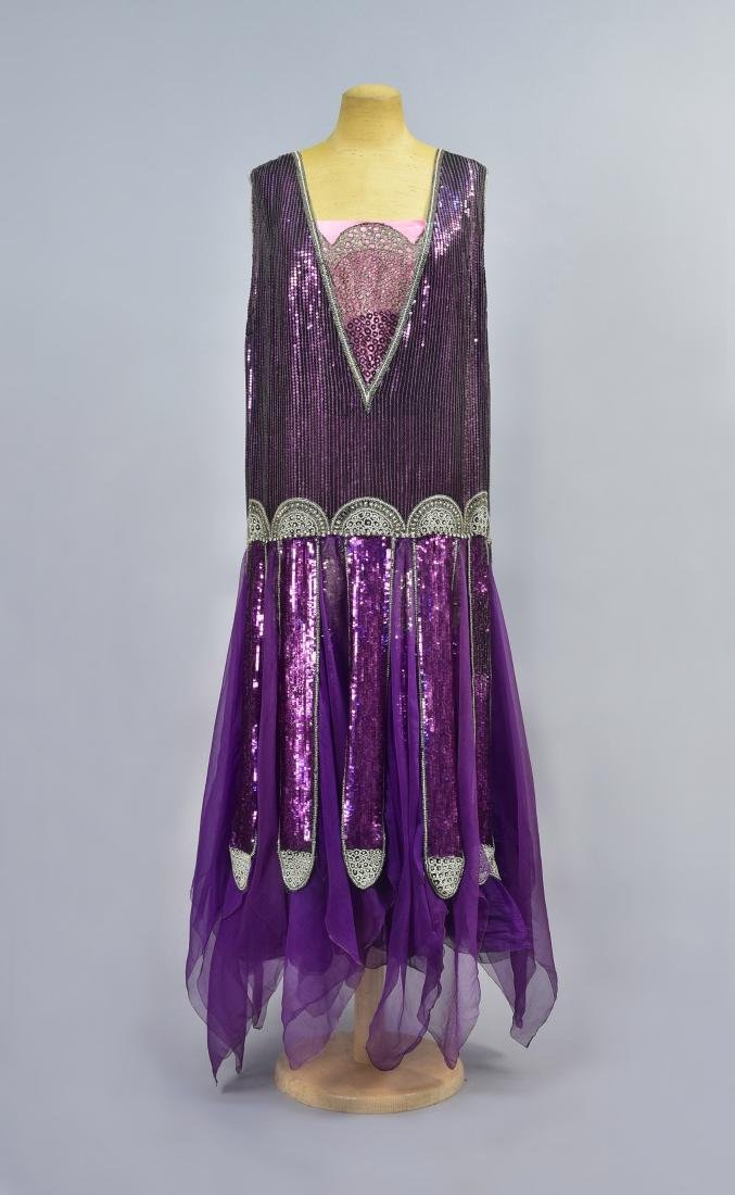 POIRET BEADED and SEQUINED CHIFFON DRESS, 1928