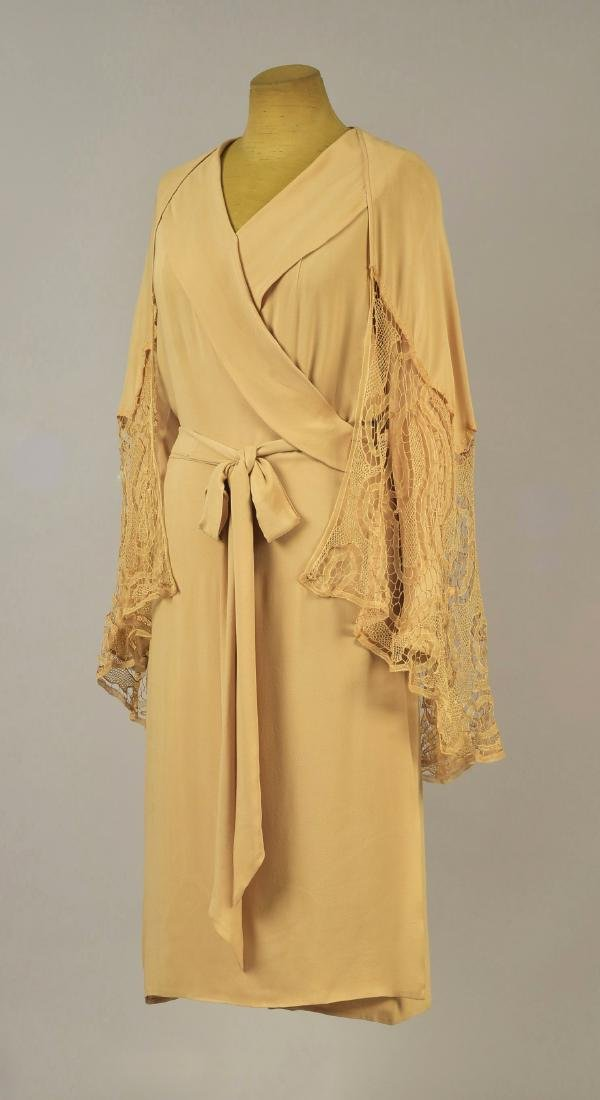 SILK WRAPAROUND DAY DRESS, possibly LANVIN, 1930s