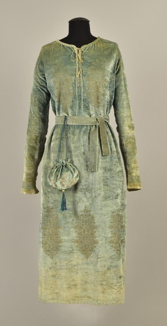 FORTUNY STENCILED VELVET TUNIC with BELT and PURSE,