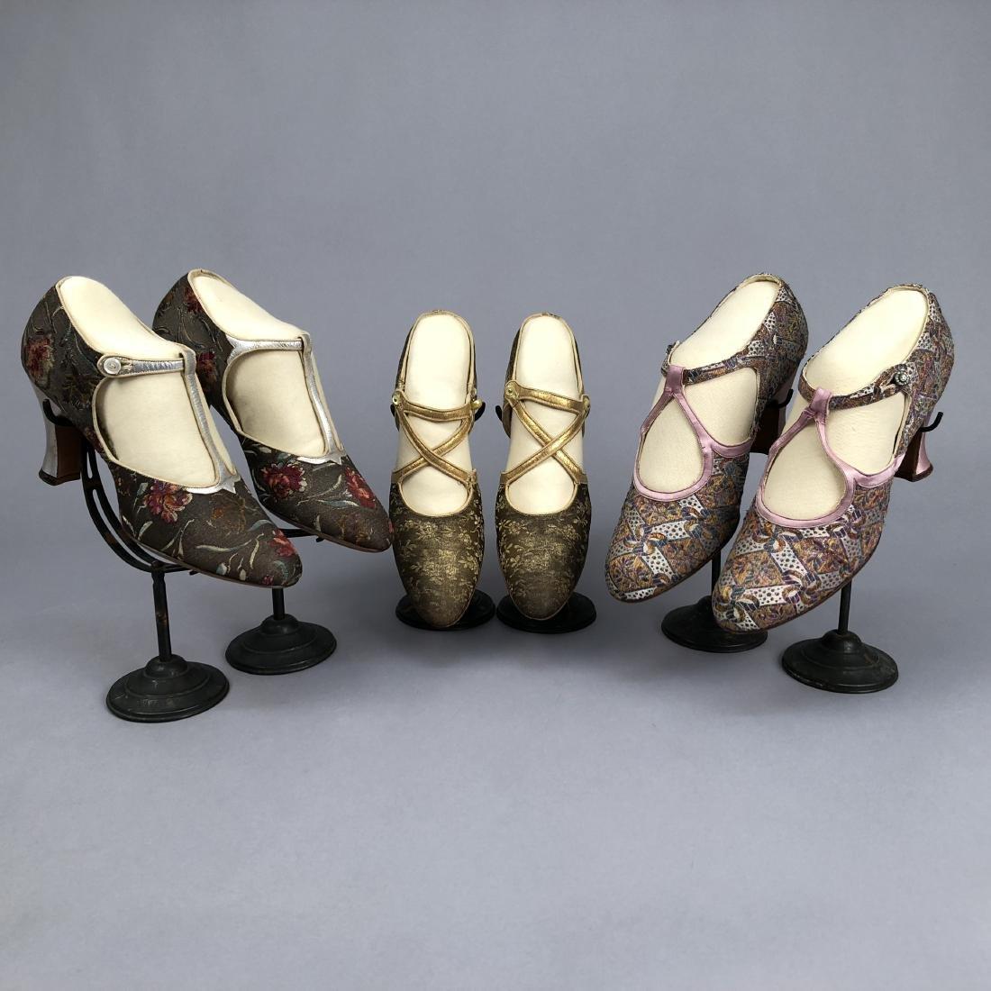 THREE PAIR METALLIC and BROCADE PUMPS, c. 1925
