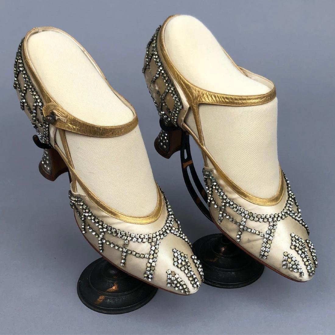 GRECO GOLD and RHINESTONE TRIMMED SATIN PUMPS, 1925 -
