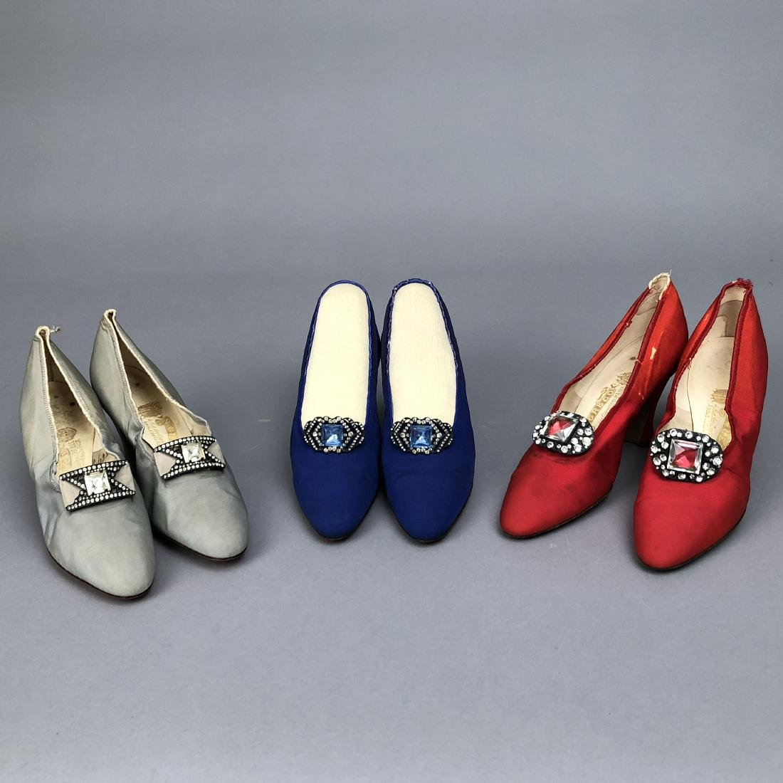 THREE PAIR GRECO JEWELED SILK PUMPS, 1925 - 1930